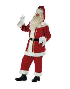 Weihnachtsmann-Anzug-aus-Glanzsamt-m-Plueschbesatz-Jacke-Hose-Muetze-Guertel