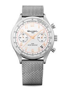 b92f0c20f Image is loading William-L-1985-Quartz-Watch-Vintage-Style-Chronograph-