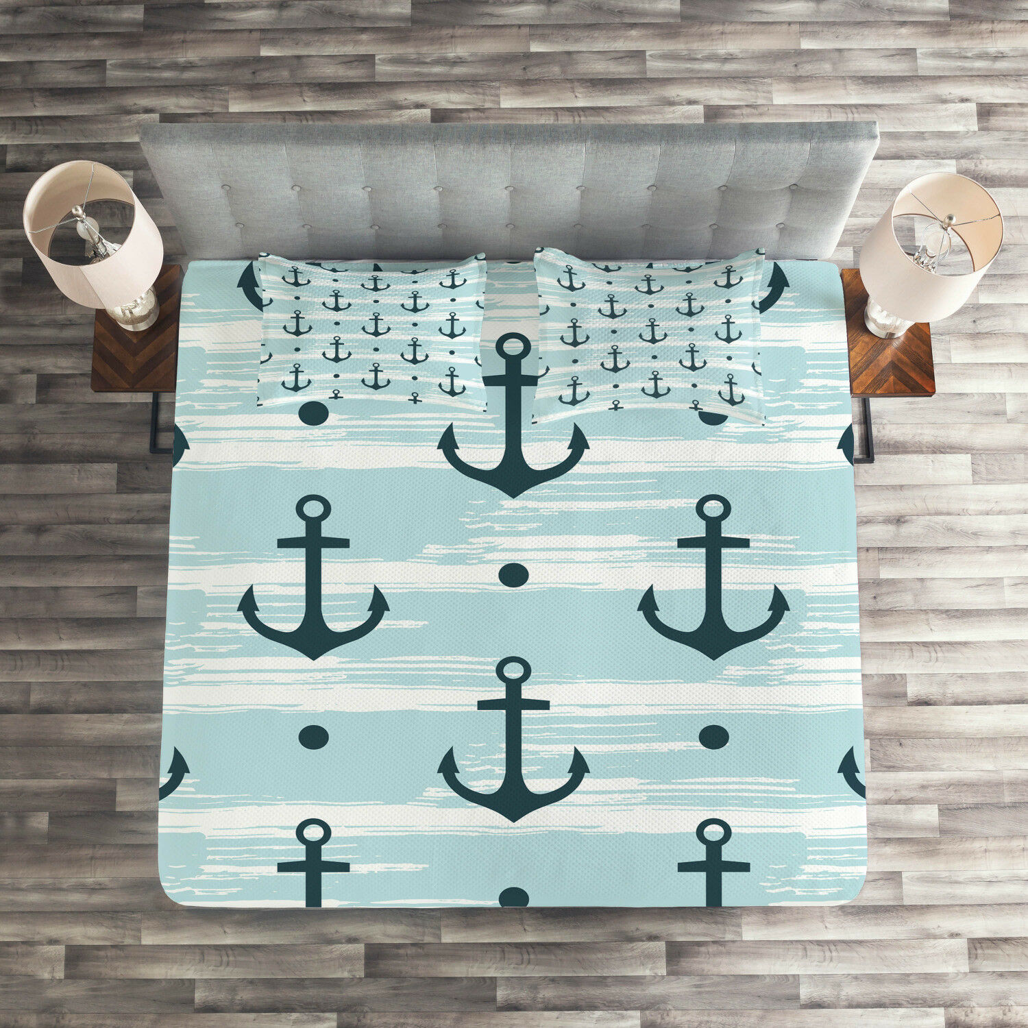 Modern Quilted Coverlet & Pillow Shams Set, Pattern with Anchors Print
