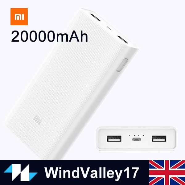 Xiaomi Mi 20000mAh 2C External Power Bank 2USB Battery Charger For Mobile Phone