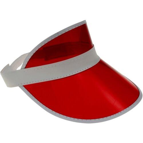 Visor Retro Cap Sonnenmütze Schirmmütze Durchsichtig Blende Mütze Cappy Rot