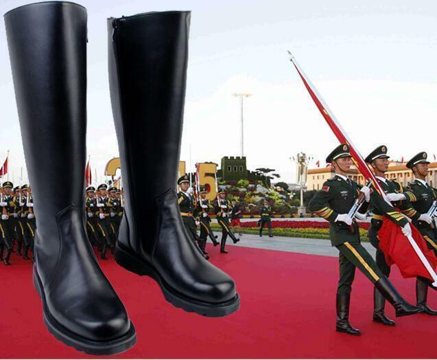 Uomo Military Knight Knight Knight Pelle Shoes Combat Officer Boot Knee High Riding Stivali 6b7aa8