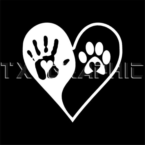 HEART YIN YANG  STICKER LOVE  DOG PAW HUMAN HAND ANIMAL LOVER VINYL  DECAL