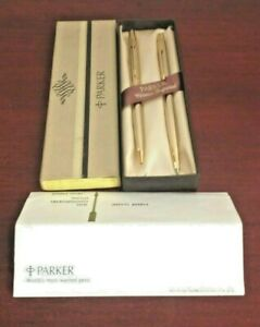 VINTAGE-PARKER-CLASSIC-IMPERIAL-7-544-3-GOLD-PEN-amp-PENCIL-USA-NEW-OLD-STOCK