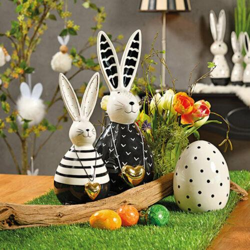 Hase mit Herzanhänger Schwarz Weiß Keramik Gold Deko Frühjahr Ostern Höhe 18 cm