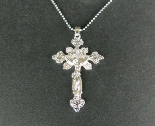 Edelstahl Halskette 65 cm kürzbar mit Anhänger Jesus Kreuz Glaube Geschenk RR