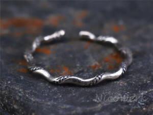 Silberring-Schlicht-Schmal-Glatt-Gedreht-Vintage-Ring-Silber-925-Verstellbar