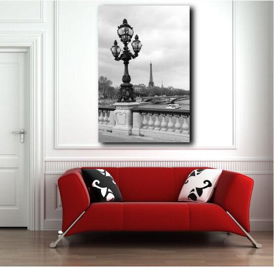 Street Lantern Eiffel Tower Paris France Black and White Canvas Art Poster Print