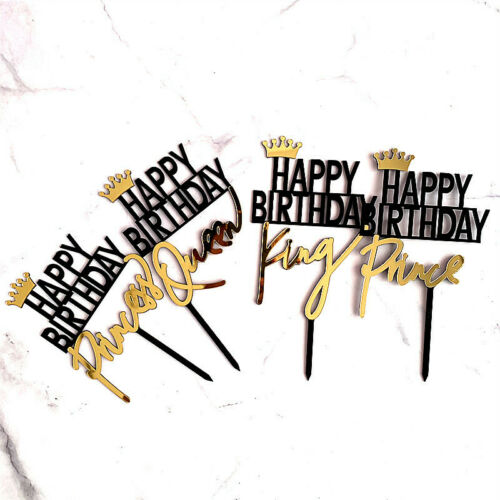 Gold King Queen Prince Princess Cake Topper Acrylic Happy Birthday Cake Topper