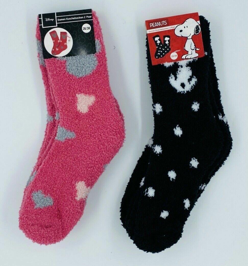 2 Paar Damen Kuschelsocken Disney Minnie Mouse Peanuts Snoopy Socken Weich