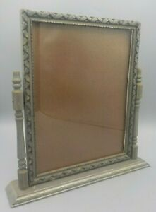 Vintage-Art-Deco-Wood-Swing-Frame-Silver-Gray-Finish-w-Glass-7-034-X-9-034-Photo
