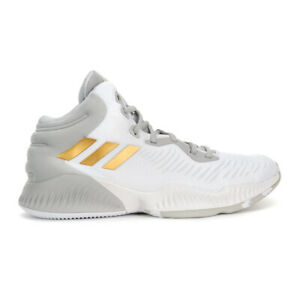 Adidas Men's Mad Bounce 2018 Cloud White/Gold Metallic Shoes B41871 NEW