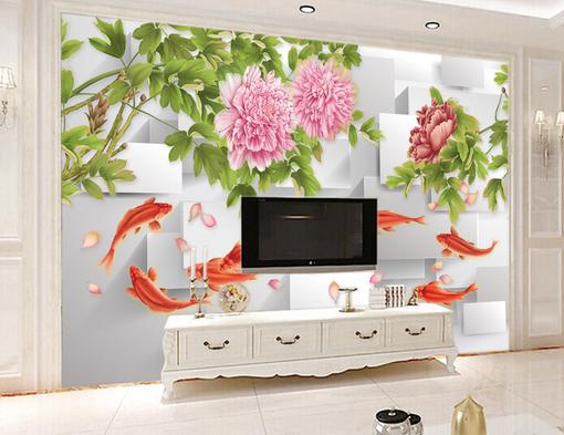 3D Carp Peony 08 Wall Paper Wall Print Decal Wall AJ WALLPAPER CA
