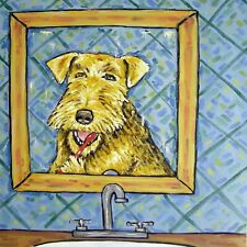 AIREDALE TERRIER BRUSHING TEETH  dog art tile coaster