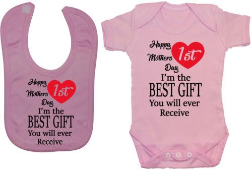 Happy 1st Mothers Day Baby Grow//Bodysuit//Romper /& Feeding Bib 0-12mth Mummy Gift