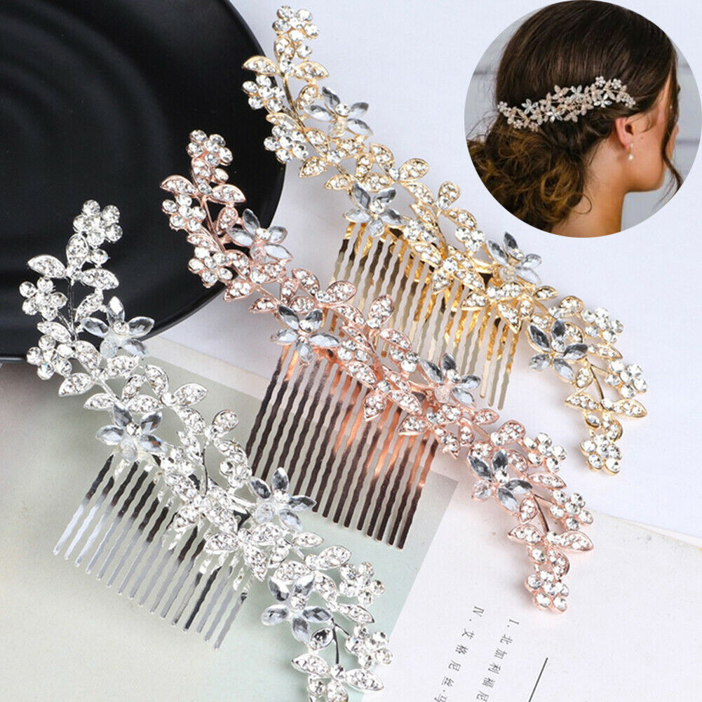 Bridal Hair Comb Pearl ROSE GOLD Crystal Headpiece Wedding Accessories Pin 06509