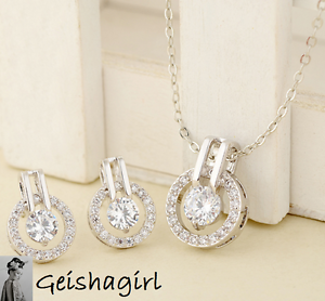 Wedding-Prom-Silver-Plated-Clear-Round-CZ-Gem-Earrings-Pendant-Necklace-Set-UK