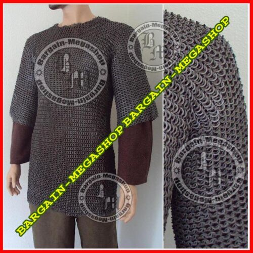 Flat Riveted w// Flat Washer Chain Mail Shirt Medieval Chainmail Haubergeon a1hi