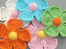 Lot of 15 Large Handmade Crochet Flower Appliques Multi-Color A114