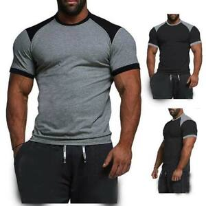 T-shirts-summer-tops-slim-fit-casual-blouse-o-neck-muscle-tee-men-039-s-t-shirt