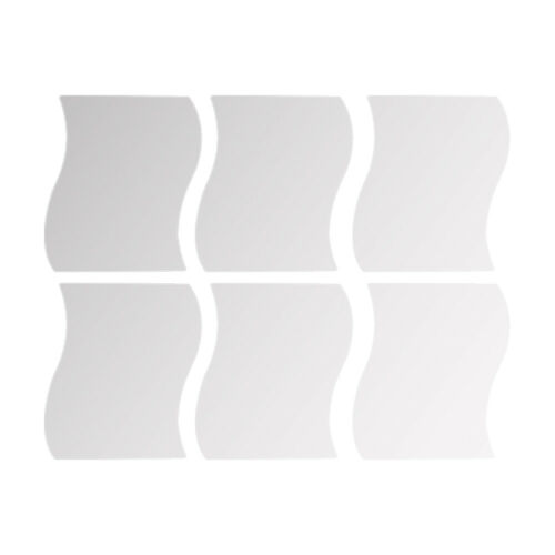 6Pcs//Set 3D Wavy Mirror Wall Stickers Removable Acrylic Art Mural Home Decor US