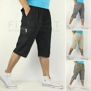 Mens-de-carga-de-3-4-Largo-Hasta-La-Rodilla-Pantalones-Cortos-Cintura-Elastica-Pantalones-Cortos-de