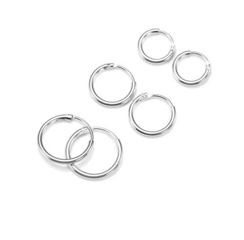 Multi Pack Small Sterling Silver Hoops Cartilage Earrings 8,10,12 mm 3 pair set