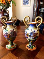 "Vintage Italy Ceramic 12"" Art Pottery 2 Vases Double handles, painting by Mica"