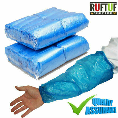 100x Oversleeves disposable White/Blue Plastic Arm Sleeves Covers Protective PPE