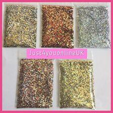Nail Art Glitter Starter Set Mixed 5 X 5g Bags Chunky Silver Red Gold + FIX GEL!