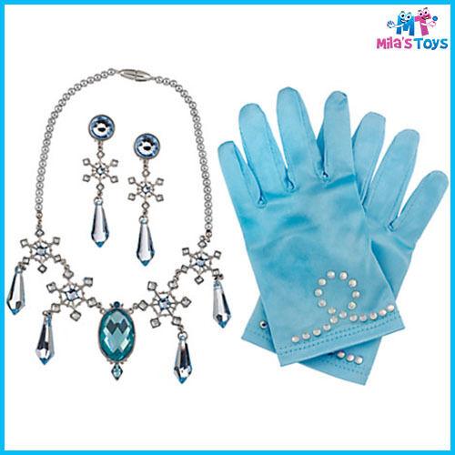 Disney Frozen Elsa Costume Accessory Set Necklace Earrings Gloves Display Box