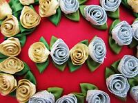 50 Gold & Silver Ribbon Christmas Rose Green Leaf/holiday Trim/craft F2-flower