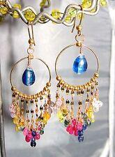 14K Gold Kyanite Multi Sapphire Briolette Gemstone Hoop Chandelier Earrings