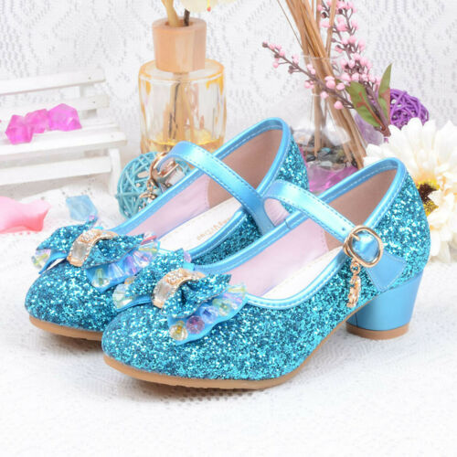 US Toddler Kids Baby Girls Princess Shoes High Heels Bowknot Dress Party Shoes