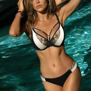 570cb71560b9e 2019 New Sexy Snake Skin Triangle Bikini Swimwear Female Push Up ...