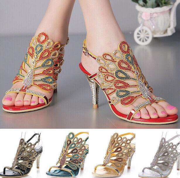 De De De Lujo Damas Pavo Real Estrás Tacón Alto Boda Novia Noche Sandalia Zapatos Talla  tienda de venta