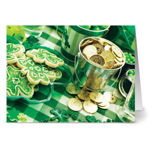 24 St. Patrick's Day Note Cards - Pot of Gold Picnic - Green Envs