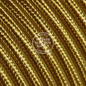 Copper Glitter Cloth Covered Electrical Wire Braided Rayon Fabric Wire