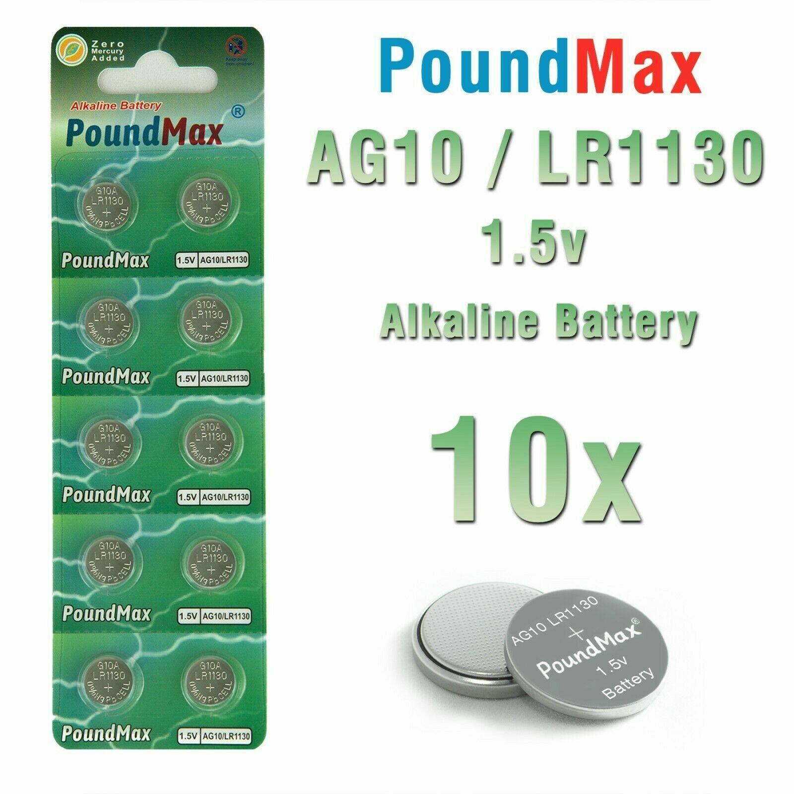 10 X AG10, LR1130 LR54 1.5v PoundMax Alkaline Button Cell Battery