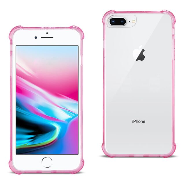 for iPhone 8 Plus Case Bumper Air Cushion Protection Cover Slim Clear Hot Pink