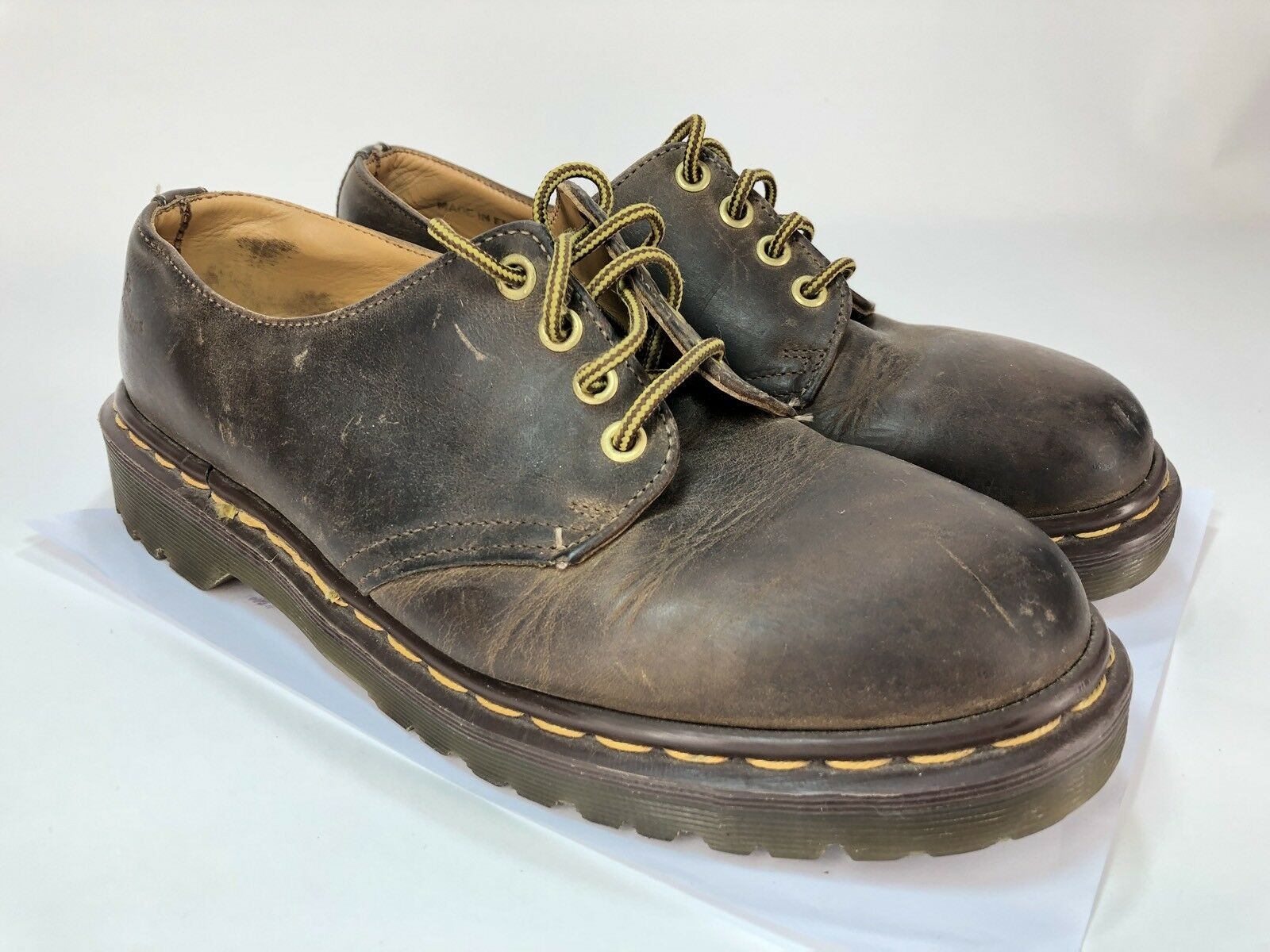 Dr Martens Original Oxford Lace Shoe US M 8 W 9 England Classic Brown 4-Eye