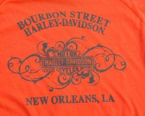 HARLEY DAVIDSON New Orleans Bourbon Street Long Sleeved Orange White Shirt MED