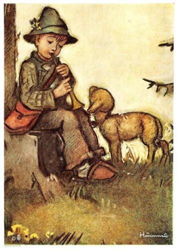 "vintage unused  greeting cards  ARS SACRA   B.I.Hummel /""shepard boy/""1422/"""