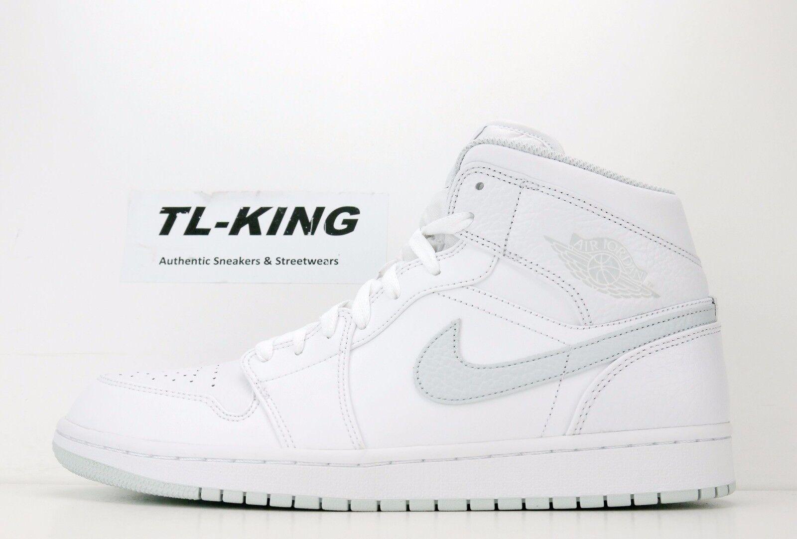 Nike Air Jordan 1 One Retro Mid Msrp White Pure Platinum 554724-108 Msrp Mid 110 Eb 824d42
