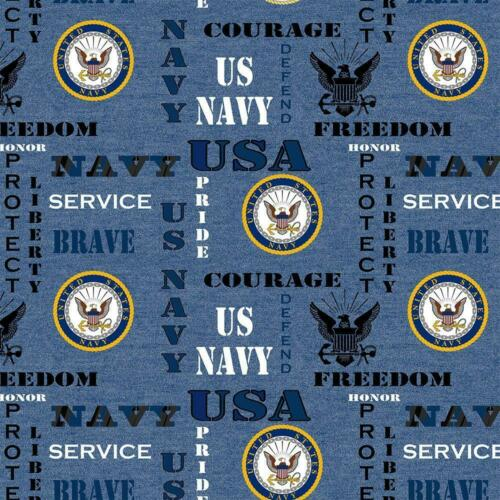 Navy Heather Military Print Cotton Fabric BTY