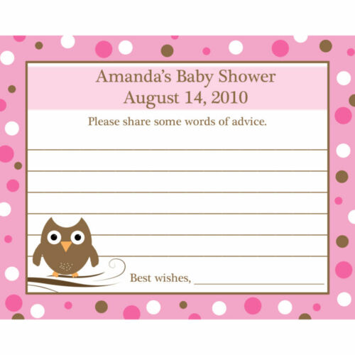 24 Personalized Baby Shower Advice Cards  Baby Owl