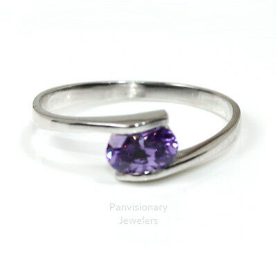 Birthstone Mother's Ring Sterling Stackable Lavender Zircon June Gemstone .925
