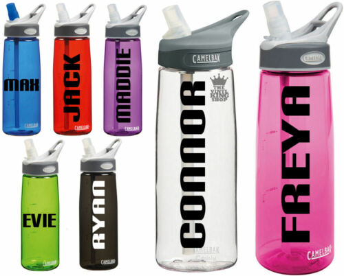 2 x Personalised Name Stickers Drinks Bottle Gym Bike Water Block Font Sports