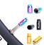 RISK 2pcs Titanium Bicycle Valve Caps Bike Tire Conversion Gas Dust Cover 3Color