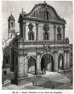 Sassari.Sardegna Porto Torres:Piccolo Stemma Stampa Antica Passepartout.1895